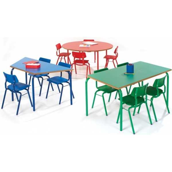 Modern Classroom Furniture Uk ~ Trapezoidal classroom table with coloured legs