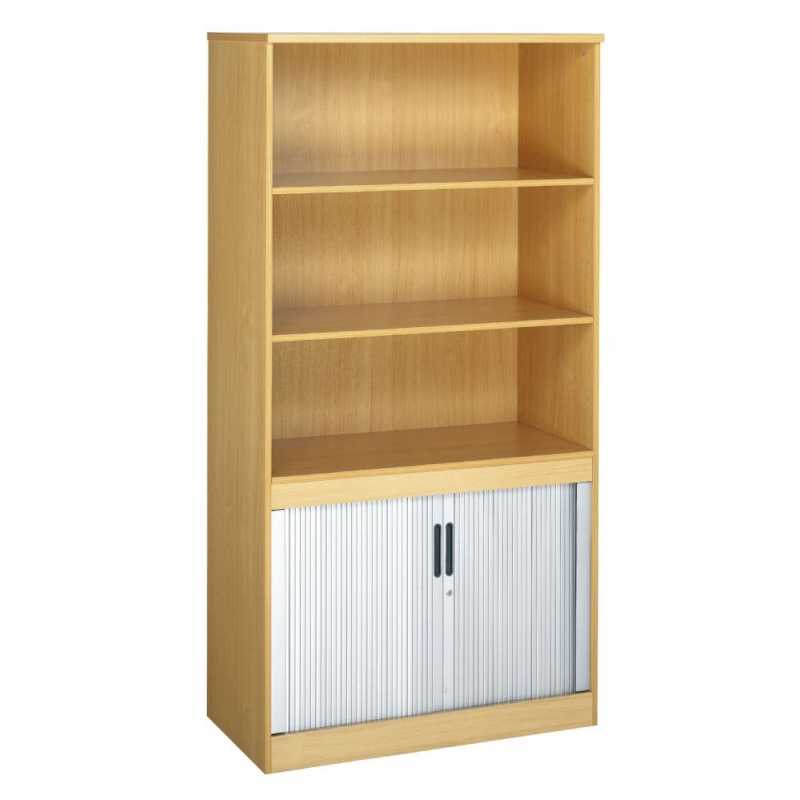 System Combination Bookcase With Tambour Cupboard