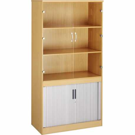 System Combination Tambour Cupboard and Glass Fronted Bookcase