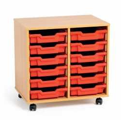 2 Bay Classroom Storage Unit 12 Trays