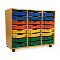 3 Bay Classroom Storage Unit 18 or 24 Trays