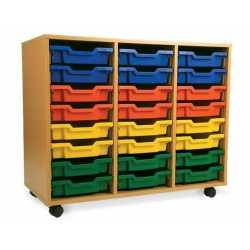 3 Bay Classroom Storage Unit 18 or 24 Trays