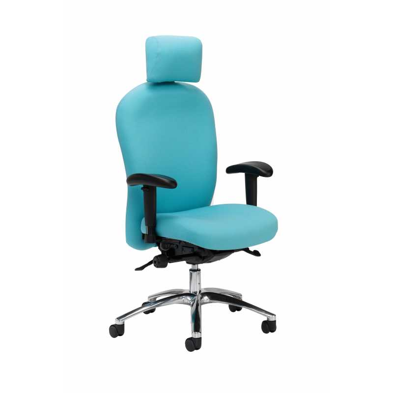 Shown With Optional Adjustable Arms U0026 Aluminium Base; P83 Posturemax Chair  With Adjustable Head U0026 Neck Support
