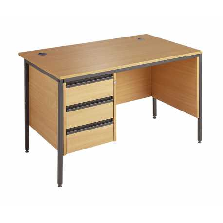 H Frame Straight Desk with 3 Drw Pedestal & Modesty Panel