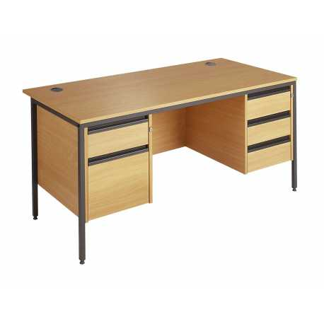 H Frame Straight Desk with 2 & 3 Drawer Pedestal