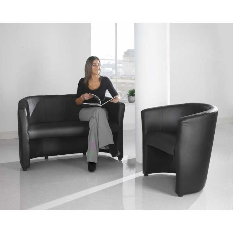 London Leather Faced Tub Chair - Tub chairs leather