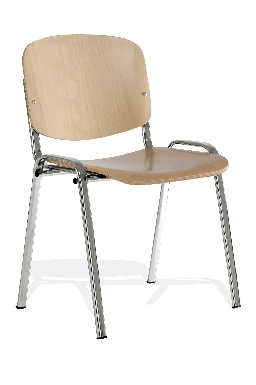 taurus wooden stacking chair with chrome frame